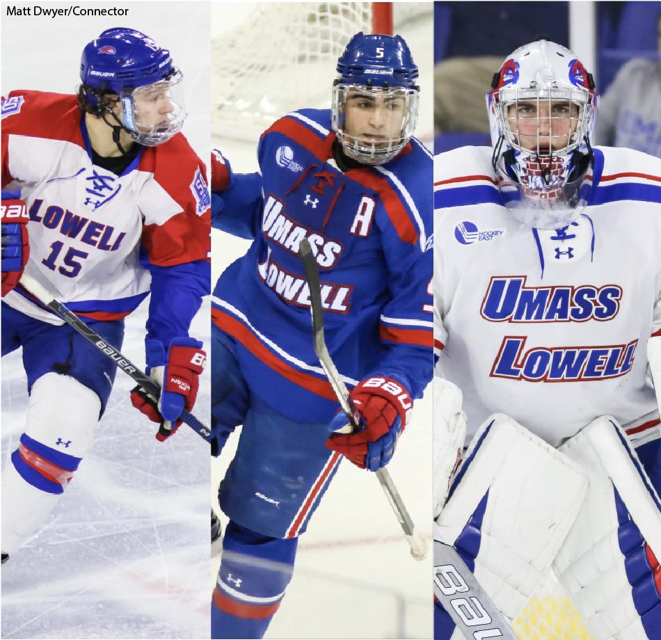 A Selection Of Um Lowell S Worn Hockey Jerseys Matt Dwyer Connector